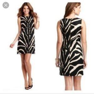 LOFT MOD ZEBRA TEXTURED COTTON SHIFT DRESS
